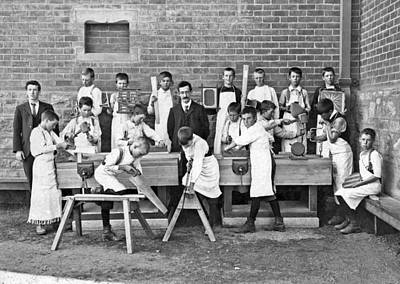 Woodworking Print featuring the photograph School Woodworking Class by Underwood Archives