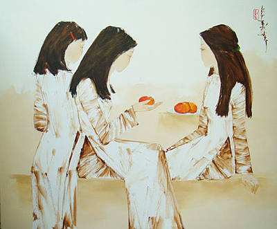 Schoolgirls With Red Apples Original by Luong Dung