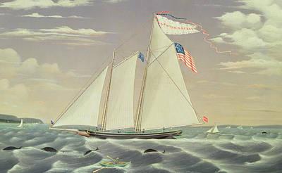 American Flags Drawing - Schooner Lewis R Mackey by James Bard