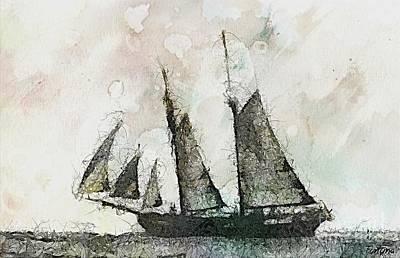 Ship Painting - Schooner-vintage Art by Dragica  Micki Fortuna