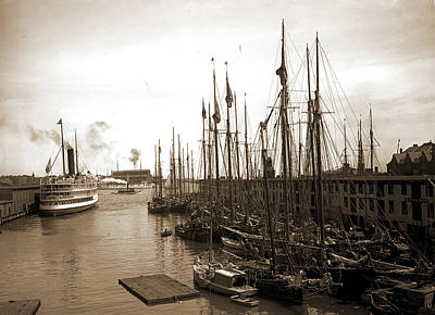 Schooners At &quott&quot Wharf, Boston, Mass, Piers & Print by Litz Collection