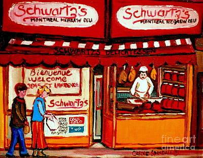 The Main Montreal Painting - Schwartz's  Deli  Montreal Landmarks by Carole Spandau