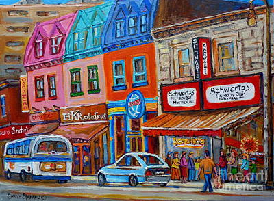 Montreal Streets Painting - Schwartzs Deli Restaurant Montreal Smoked Meat Plateau Mont Royal Streetscene Carole Spandau by Carole Spandau
