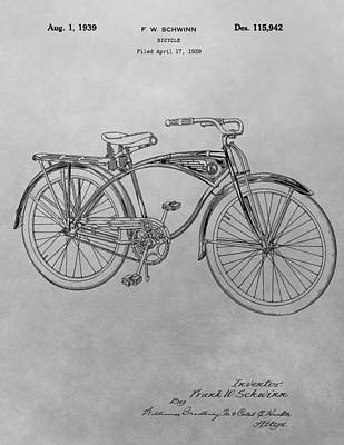 Bike Drawing - Schwinn Bicycle by Dan Sproul