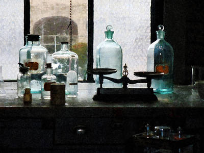 Science - Balance And Bottles In Chem Lab Print by Susan Savad