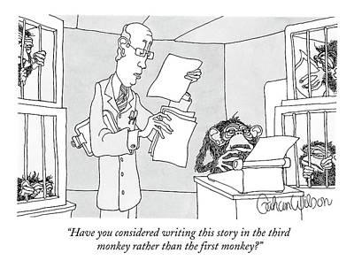 Monkeys Drawing - Scientist Talking To Monkey At Typewriter by Gahan Wilson