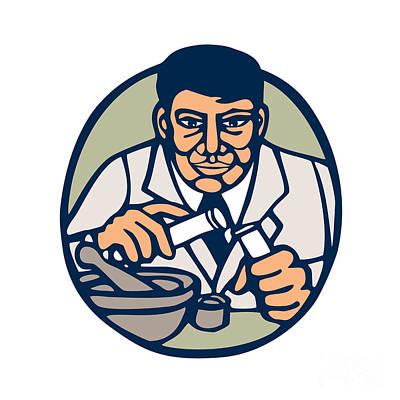Scientist Test Tube Woodcut Linocut Print by Aloysius Patrimonio