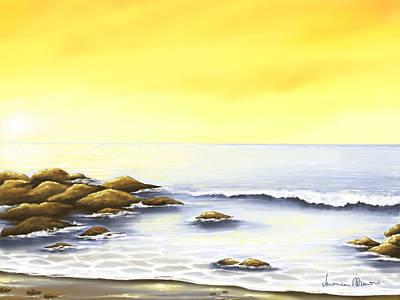 Seascape Digital Painting - Scogli Al Tramonto by Veronica Minozzi