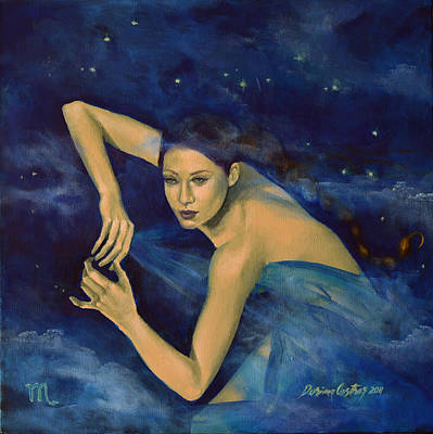 Constellations Painting - Scorpio From Zodiac Series by Dorina  Costras