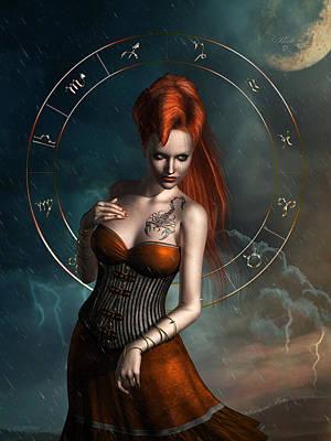 Mystical Women Mixed Media - Scorpio Zodiac Sign by Britta Glodde