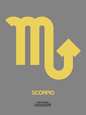 Signed Digital Art - Scorpio Zodiac Sign Yellow On Grey by Naxart Studio