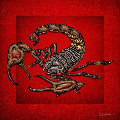 Scorpion On Red Original by Serge Averbukh
