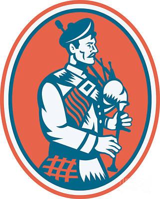 Scotsman Scottish Bagpipes Retro Print by Aloysius Patrimonio