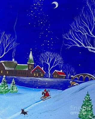 Ski Painting - Scottie Sleigh Ride by Margaryta Yermolayeva