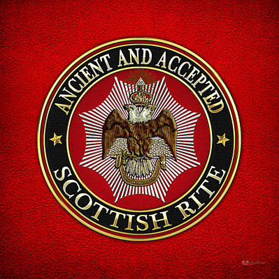 Scottish Rite Double-headed Eagle On Red Leather Original by Serge Averbukh