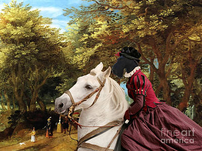 Scottish Dog Painting - Scottish Terrier Art - Pasague With Horse Lady by Sandra Sij