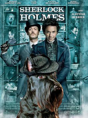 Scottish Terrier Art Canvas Print - Sherlock Holmes Movie Poster Print by Sandra Sij
