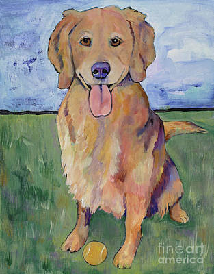 Tennis Ball Painting - Scout by Pat Saunders-White