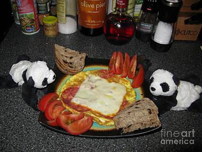 Scrambled Eggs Salami And Cheese For Breakfast. Travelling Baby Pandas Series. Print by Ausra Huntington nee Paulauskaite