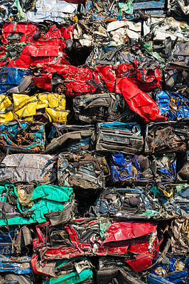 Wrecked Cars Photograph - Scrap Cars Colorful Heap by Matthias Hauser