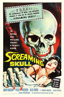 Screaming Mixed Media - Screaming Skull Movie Poster 1958 by Mountain Dreams