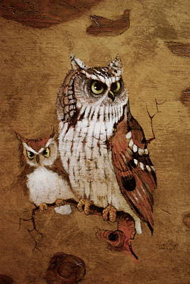 Earth Tones Painting - Screech Owls by Richard Hinger