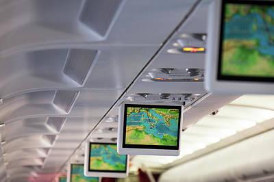 Screens In Aeroplane Print by Wladimir Bulgar