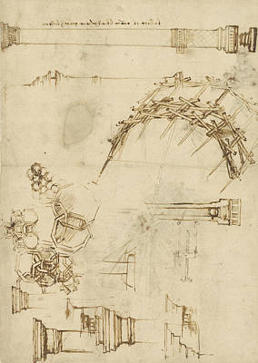 Pen Drawing - Screw Breech Bombard Decorative Geometrical Drawings Framework Of Self Supporting Military Bridge  by Leonardo Da Vinci
