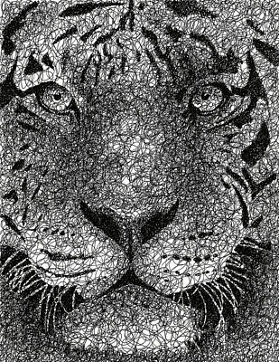 The Tiger Hunt Drawing - Scribble Tiger by Nathan Shegrud