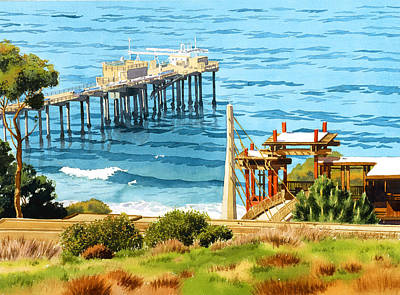 Biology Painting - Scripps Pier La Jolla by Mary Helmreich