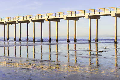 Sunset Photograph - Scripps Pier Reflections by Priya Ghose