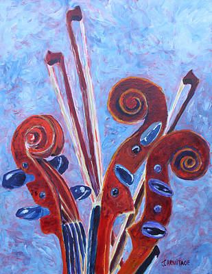 Violin Painting - Scroll Bouquet by Jenny Armitage