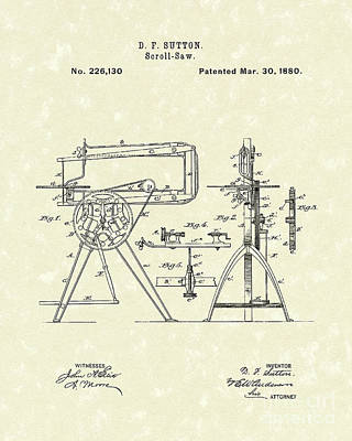 Sutton Drawing - Scroll-saw 1880 Patent Art by Prior Art Design