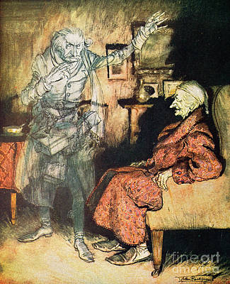 Scrooge And The Ghost Of Marley Print by Arthur Rackham