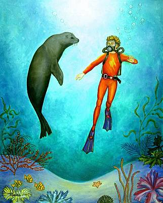 Ocean Painting - Scuba Diver One by Linda Mears