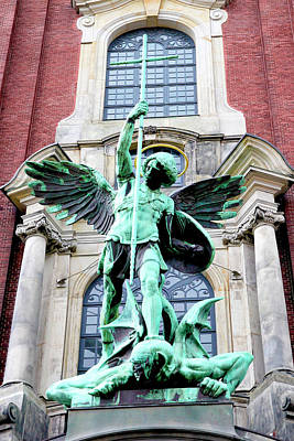 Sculpture Of The Archangel Michael Print by Miva Stock