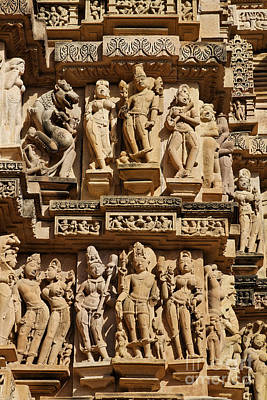 Sculptures On The Lakshmana Temple At Khajuraho In India Print by Robert Preston