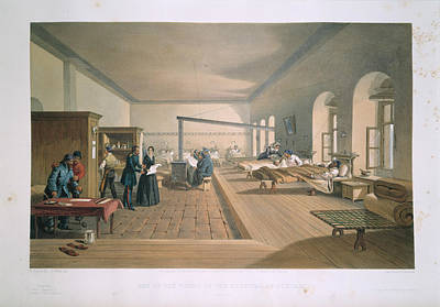 Lithographs Photograph - Scutari Hospital Ward by British Library