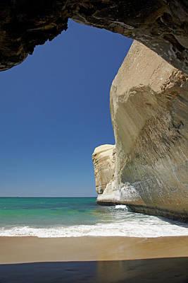 Sea Cave, Beach And Cliffs, Tunnel Print by David Wall