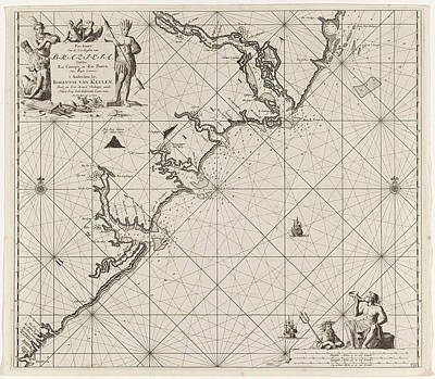 Ape Drawing - Sea Chart Of Part Of The Coast Of Brazil by Jan Luyken And Claes Jansz Voogt And Johannes Van Keulen (i)