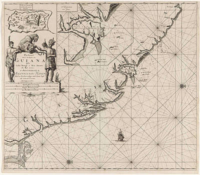 Panther Drawing - Sea Chart Of The Coast Of French Guiana, Jan Luyken by Jan Luyken And Claes Jansz Voogt And Johannes Van Keulen (i)