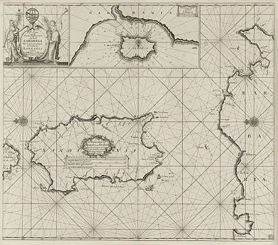 Trombone Drawing - Sea Chart Of The Island Of Sardinia And Part Of The Coast by Anonymous And Johannes Van Keulen (i)