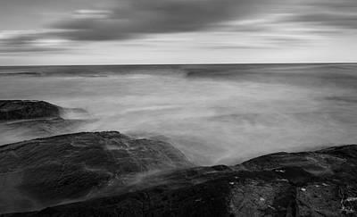 Sea Foam Black And White Print by Lourry Legarde