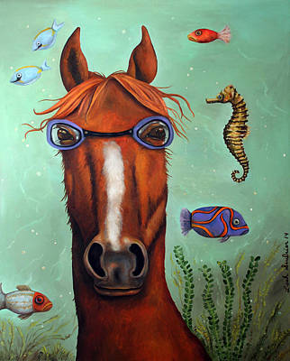 Goggles Painting - Sea Horse Edit 2 by Leah Saulnier The Painting Maniac