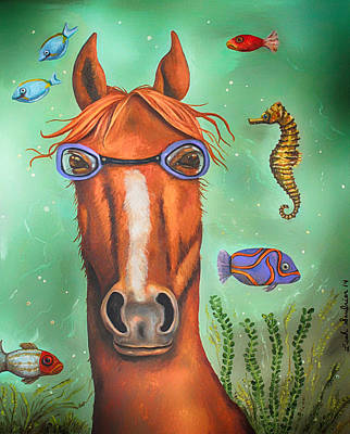 Goggles Painting - Sea Horse Edit 3 by Leah Saulnier The Painting Maniac