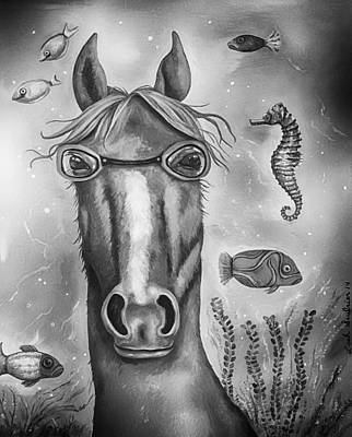 Goggles Painting - Sea Horse Edit 4 by Leah Saulnier The Painting Maniac