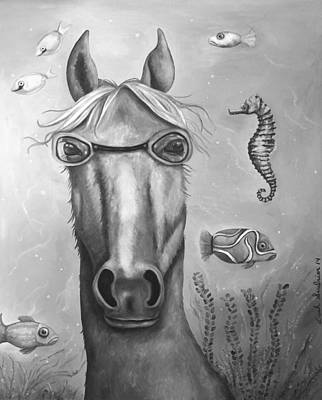 Goggles Painting - Sea Horse Edit 5 by Leah Saulnier The Painting Maniac