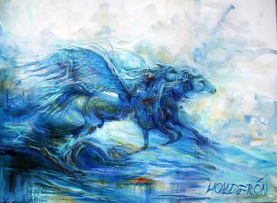 Pegasus Painting - Sea Horses by Heather Calderon