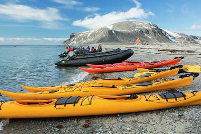 Sea Kayaks And Zodiaks Print by Ashley Cooper