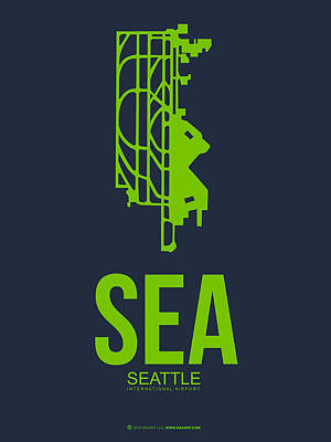 Seattle Mixed Media - Sea Seattle Airport Poster 2 by Naxart Studio